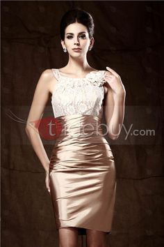 Glittering Flower Sheath/Column Short/Mini-Length Round Neckline Taline's Mother Of The Bride Dress