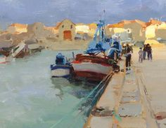 Kim English : Afternoon storm. ( this totally reminds me of a day at a harbour in Sardinia)