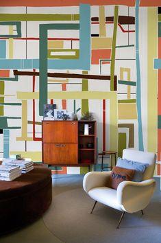 mid-century furniture. retro wall decor.