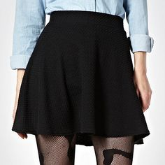 H! by Henry Holland Black textured skater skirt- at Debenhams.com