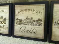 3pc Wine Home Decor Signs Kitchen Wall Plaques French Vineyard Pictures Chateau