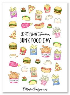 Doodle Junk Food Stickers Printable   Etsy Food Stickers, Printable Stickers, Planner Stickers, Chicken And Chips, Fun Classroom Activities, Food Icons, Food Pyramid, Corn Chips, Print And Cut