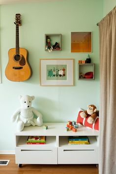 shared space: mixing papas guitars with kid stuff