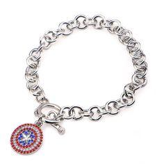 Marvel Captain America Gem Logo Charm Bracelet ($12) ❤ liked on Polyvore featuring jewelry, bracelets, gemstone bangle, gem jewelry, charm bracelet, marvel jewelry and gemstone jewelry
