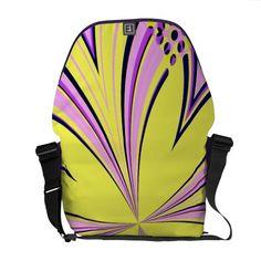 Elegant kaleidoscope art flower yellow purple pink messenger bags