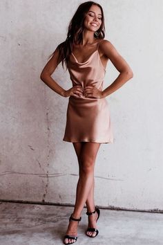 Satin Silk Mini Dress, Short Party Dresses You are in the right place about prom Dresses Here … Hoco Dresses, Dance Dresses, Satin Dresses, Pretty Dresses, Homecoming Dresses, Cute Party Dresses, Pink Satin Dress, Going Out Dresses, Mini Dresses