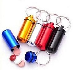 Tool Gadget 5Pcs Outdoor Hiking Camping Aluminum Keychain Round Pill Bottle Travel Portable Pill Box Keyring Tablet Box Container for Home Storage & Organization by Tool Gadget
