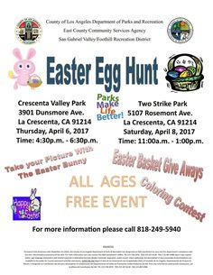 Two Easter egg hunts. CV Park and Two Strike Park both in La Crescenta.