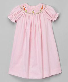 Look at this #zulilyfind! Pink Bunny Gingham Bishop Dress - Infant, Toddler & Girls by BeMine #zulilyfinds