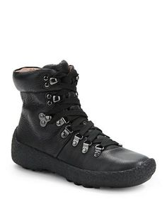 brand new 05633 51e4f Combat-style boots in a pebbled leather finish upon textured platforms  Leather Lace Up Boots