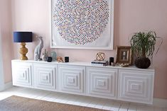 IKEA Hack: Sideboard made of IKEA kitchen wall units and doors with stepped panels Ikea Wall Units, Kitchen Wall Units, Ikea Kitchen, Kitchen Cupboards, Floating Cabinets, Ikea Cabinets, Side Board, Ikea Furniture, Furniture Makeover