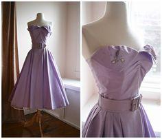 1950's Lilac Pique Strapless Dress