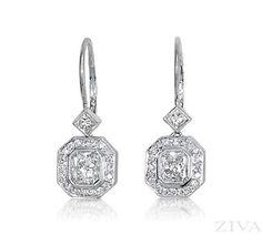 Vintage Square Diamond Earrings with Pave Halo and Lever Backs. 1.45ct tw of center stones (G/SI2 quality), 0.25ct princess cut & 0.31ct round diamonds (G/SI1 quality). Earrings are 1-1/8e long.