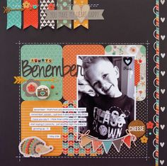 ISSUU - CREATE: Issue January 2015 by Scrapbook Generation Love how the colors pop on the black background and the banners in the corner. Kids Scrapbook, Scrapbook Paper Crafts, Scrapbook Cards, Picture Scrapbook, Paper Crafting, Scrapbook Layout Sketches, Scrapbooking Layouts, Photo Layouts, Fancy Pants
