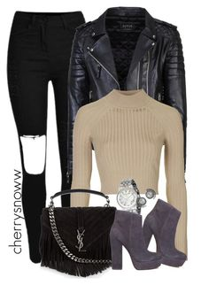 """""""Edgy casual chic fall/spring outfit"""" by cherrysnoww ❤ liked on Polyvore featuring Topshop, Michael Kors, Yves Saint Laurent and Steve Madden"""