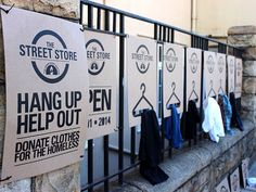 Cape Town-based advertising agency M&C Saatchi Abel and the local Haven Night Shelter Welfare Organisation have joined forces to create a pop-up street store that offers free donated clothes to the homeless. Tienda Pop-up, South African Shop, Urban Intervention, Retail Experience, Charity Shop, Pop Up Shops, Expo, Free Clothes, Green Fashion