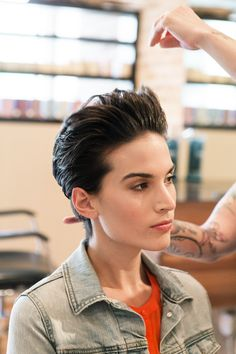 "3 Chic & Easy Ways To Style Short Hair #refinery29  http://www.refinery29.com/50513#slide-9  Once the hair is about 90% dry, push the sides back with a small dab of styling paste. According to Gustave, ""With this style, the more product, the better!"""