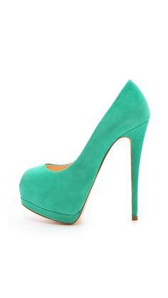 6f369dba244 Giuseppe Zanotti Sharon Peep Toe Pumps in Green