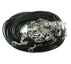 20 Imitation Leather Cord Necklaces Black 18 Inch with Extention Chain and Lobster Claw Clasp Package of 20 1.5mm cord dull silver clasp Zinc Metal Alloy+Alloy(Lead and nickel safe) Imitation leather waxed Approx: 47cm long 18 1/2 inch Rockin Beads (TM) Brand comes with Rockin Beads Size Gauge Card