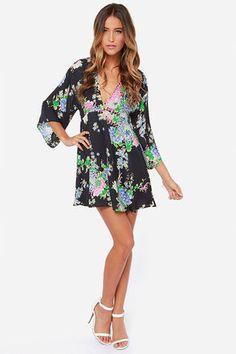 Pretty Navy Blue Dress - Floral Print Dress - Long Sleeve Dress - $44.00