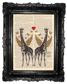 Giraffes love ORIGINAL ARTWORK Mixed Media Hand Painted by ArtElem, $8.97
