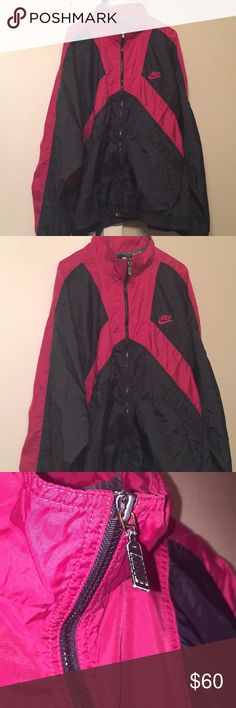 90s Nike Windbreaker Jacket maroon/black Like New! 🔥price firm 🔥Vintage Nike windbreaker 90s swishy track jacket. Black and maroon burgundy color (appears a pinkish color in some pics) Excellent condition no holes/stains , few scratches on hardware not bad at all. Some loose threads on inner lining not visible. Size tag is missing I am guessing it's close to modern day XXL or oversized 90s XL I have listed as XXL to be safe. I am 5'6 women's small modeling fits oversized for me. Front…