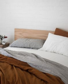 Home bedroom - How beautiful is our French flax, stonewashed Ochre linen quilt cover, soft grey stripe and white bedding! Ikea, Home Bedroom, Bedroom Decor, Bedrooms, Black Bed Linen, Bed Linen Design, Simple Bed, Luxury Bedding Sets, Home Living