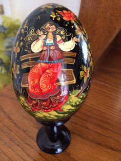 Wood russian easter christmas egg winter troika art hand painted large holiday easter christmas egg red dress girl russian art collectible souvenir birthday gift woodcurved painted by hand negle Image collections
