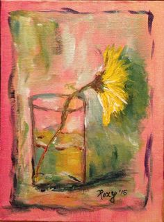 Andtract Shabby Yellow Daisy in a glass Original by RichNovelties