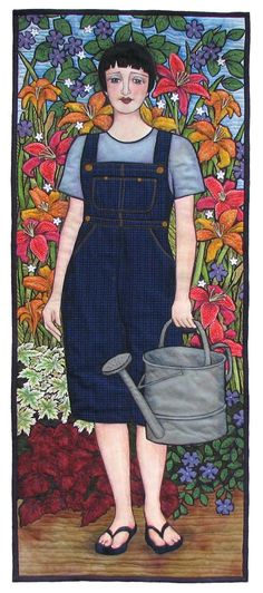 "Green Thumb 2008, 18 x 45"", portrait quilt by Terry Grant"