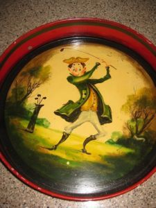 Toleware - Peter Ompir Golfer Tole Tray