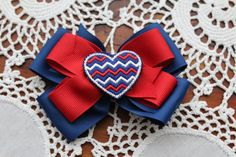 Red White and Blue Heart/ 4th of July bow