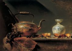 David Leffel American - Copper Kettle w/Chinese Vase, 1999 oil painting Still Life Drawing, Still Life Oil Painting, Still Life Art, Copper Still, Classical Realism, Still Life Images, Art Addiction, Copper Art, Art For Art Sake
