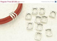 40% OFF 10 Thin Wavy Square Findings for use with 10x6mm Licorice Leather - Antique Silver (Qty.10)
