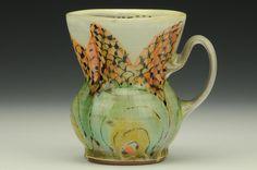 Elise Delfield - Pincu Pottery - Orange Flower MugPart of Charlie Cummings Gallery cup show 2015