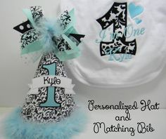 Personalized Tiffany Blue and Damask PartyHat and Appliqued Monogrammed Bib Set by DoodlesDotsnDimples Damask Cake, Damask Party, Birthday Party Hats, Tiffany Blue, Cake Smash, Dimples, Unique Jewelry, Handmade Gifts, Dots
