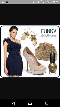 Navy blue dress with accessories