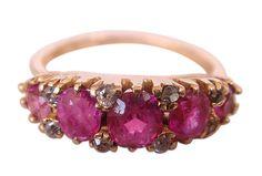 Antique Victorian 14k Gold Ruby Diamond Ring (#4093)