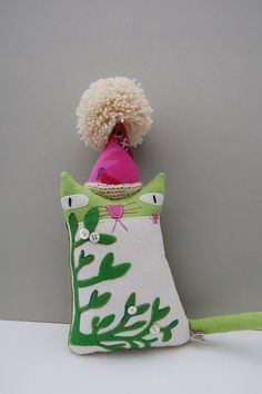 Textile art ornamental cat doll called Mistletoe by materialised