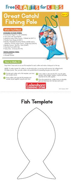 Instruction Sheet from Lakeshore's Free Crafts for Kids event featuring the Great Catch! Fishing Pole craft.