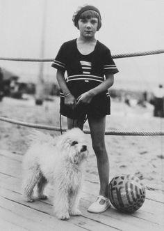 The Seeberger Brothers in Deauville, Vintage Dog, Vintage Girls, Vintage Children, Vintage Prints, Me And My Dog, Girl And Dog, Boy Dog, Vintage Photographs, Vintage Photos