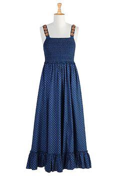 #Wood bead straps smocked maxi, #eShakti, #Maxi dresses, $69.95