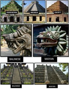 aztecamemoria:  Comparison of pyramids and art. Only Sumerian seems to be missing.