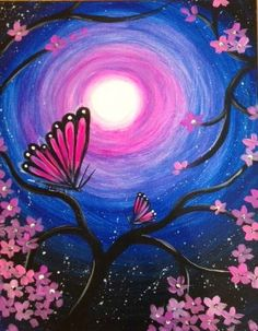 Paint Flutter Under the Stars with us at Pinot's Palette! #butterfly #painting #acrylicpainting
