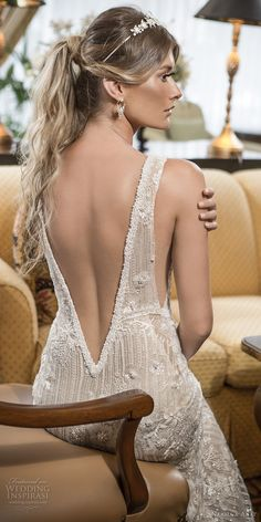 naama and anat 2018 bridal long sleeves deep v neckline full embellishment elegant fit and flare wedding dress open low v back sweep train (amore) zbv -- Naama