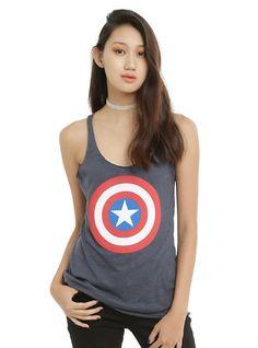 Marvel Captain America Shield Girls Tank Top, NAVY