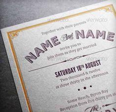 Desain Undangan Pernikahan Terbaik Template Photoshop - Contoh Desain Undangan Pernikahan Terbaik - Vintage Wedding Invitation & RSVP