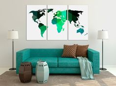 Geometric Art Print World Map Canvas Print