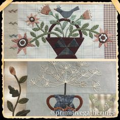 Primitive Gatherings version of Yoko Saitos Vases of Flowers Block of the Month