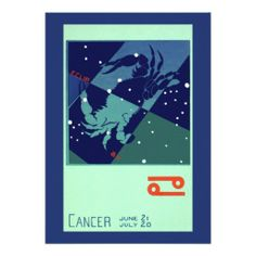 Vintage Astrology Cancer Crab Constellation Zodiac Announcements